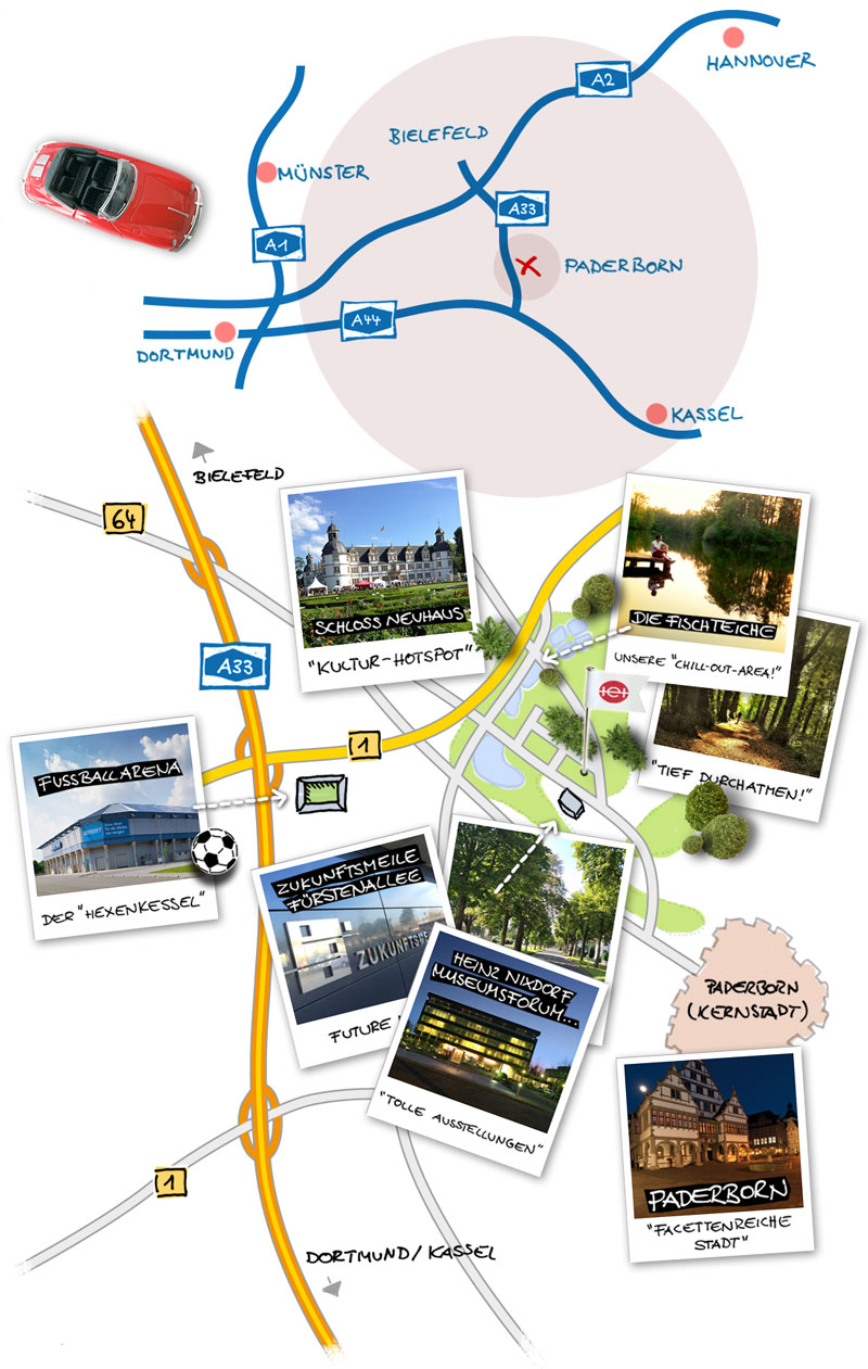 Anfahrt zur Werbeagentur TE + TE in Paderborn, Lagebeschreibung für den Raum Bielefeld, Kassel und Dortmund als Bild-Collage.