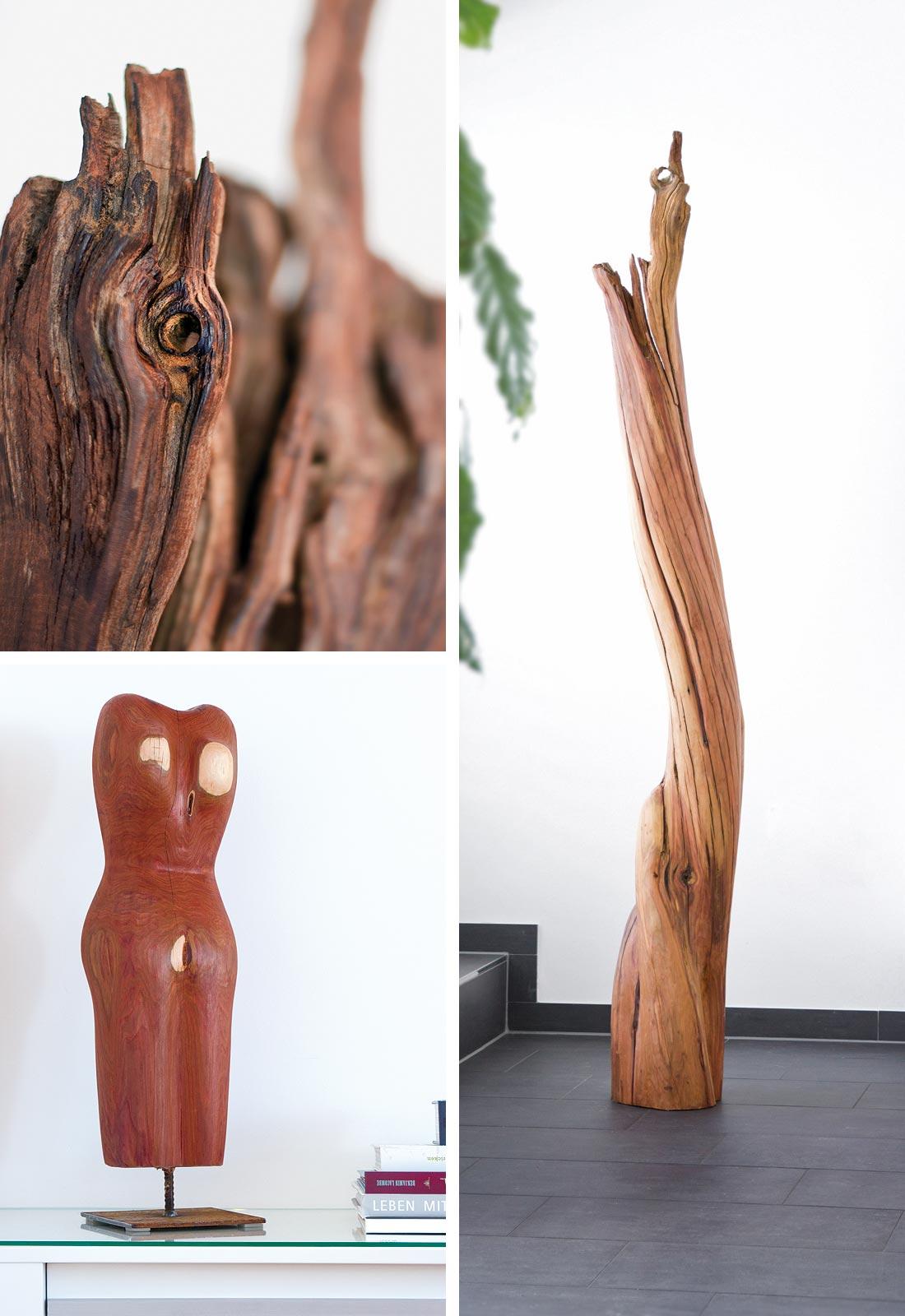 Fotografie von Holz-Skulpturen