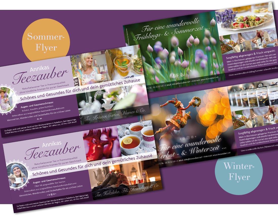 Flyer-Design Teezauber für alle Jahreszeiten