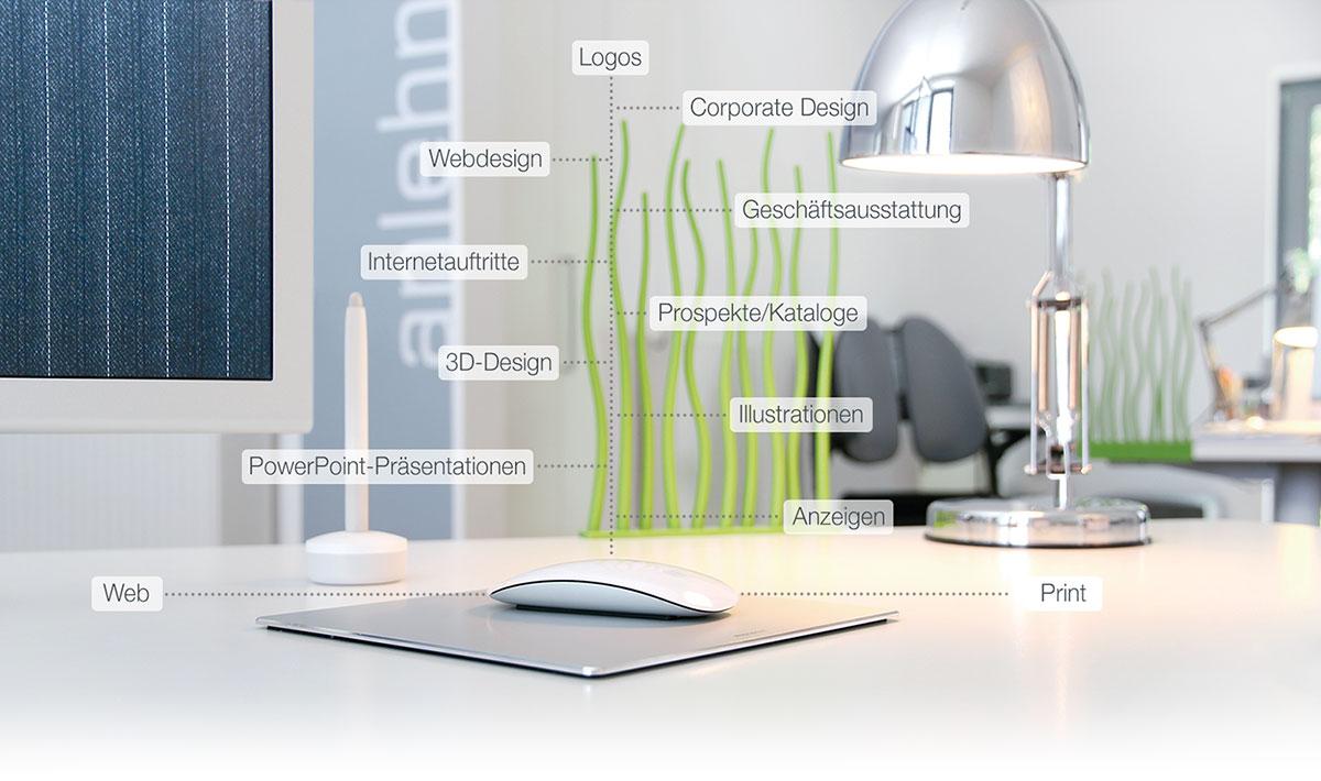 Medienproduktion, Webdesign, Print, 3D-Design, Anzeigen, usw.