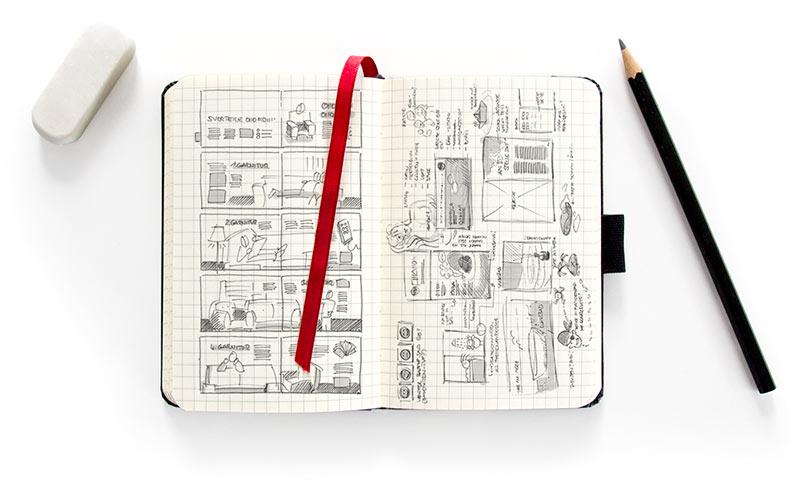 Ideenfindung, Skizzen und Zeichnungen