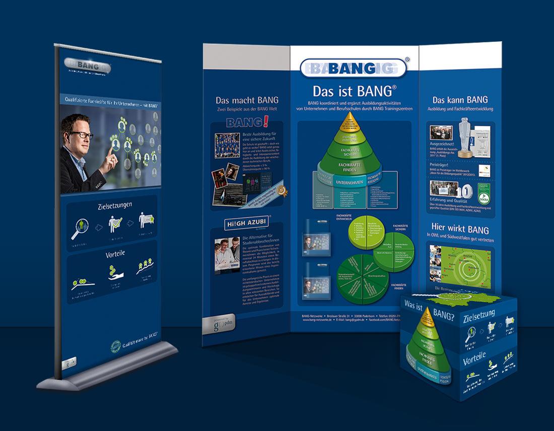 Gestaltung von Display, Roll-up und Sitzwürfel als Werbematerial für Bildungsmessen des BANG Ausbildungsnetzwerks.