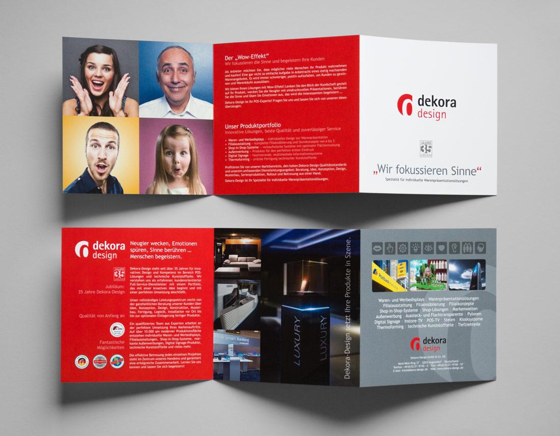 Gestaltung und Layout des Image-Flyers für das Unternehmen Dekora Design.