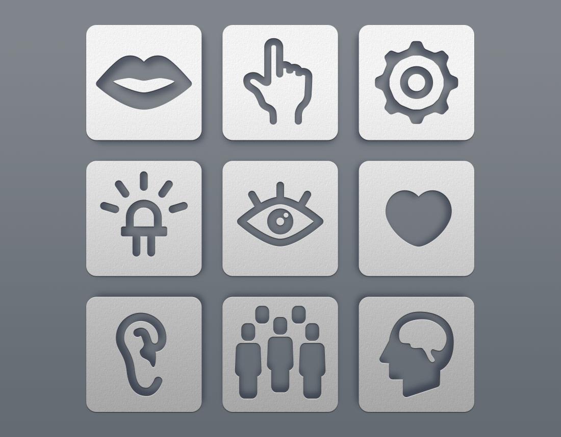 Icons für die Aufgabenbereiche eines Unternehmens