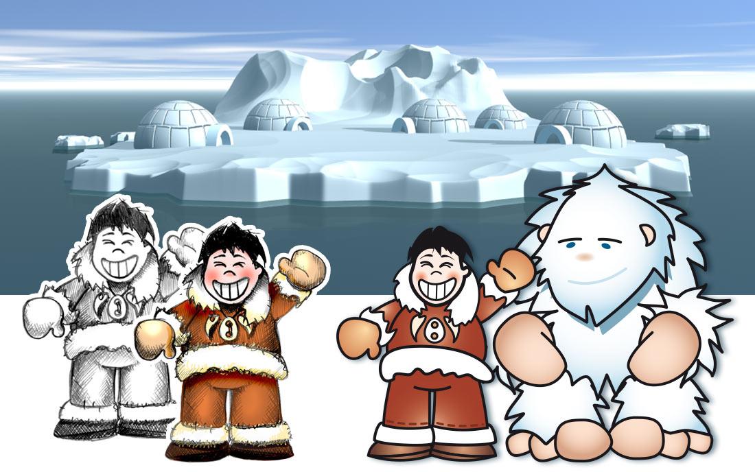 Charakter-Entwicklung Eskimo und Yeti für eine Web-Kampagne (Händlerprogramm)