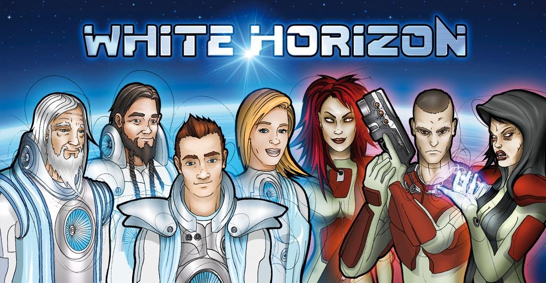 Comic-Illustration mit den Protagonisten der Weltraum-Saga White Horizon für eine Aktions-Homepage.