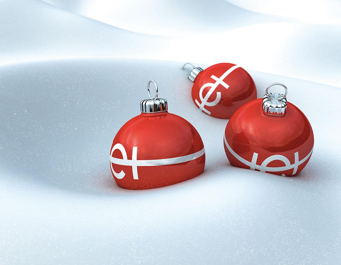 Weihnachtskugeln in 3D