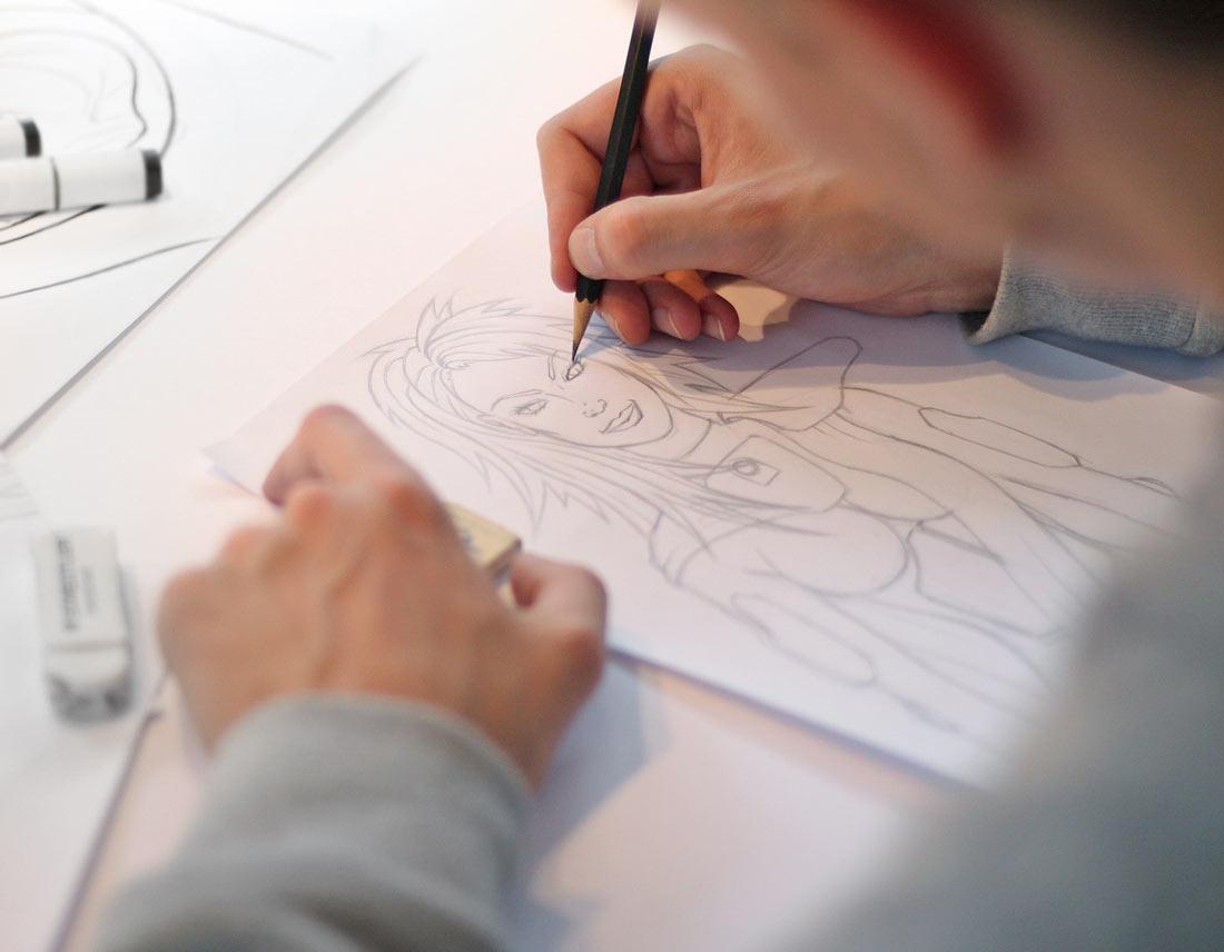 Skribble der Protagonistin mit Bleistift