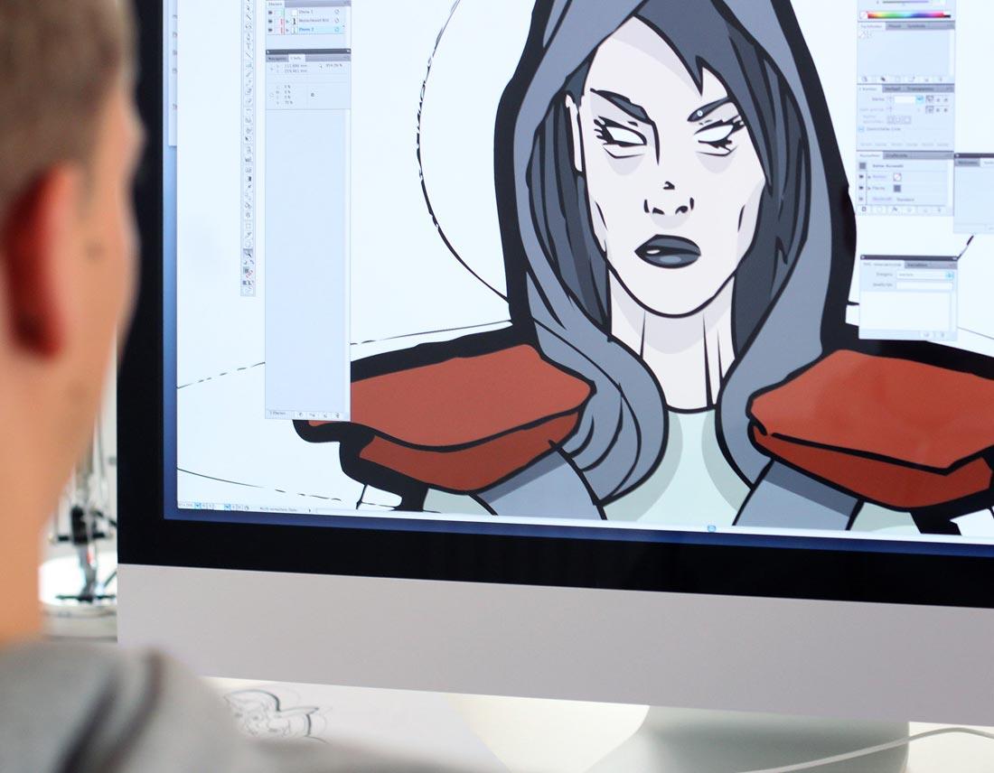 Umsetzung der Charakter-Zeichnung in Adobe-Illustrator