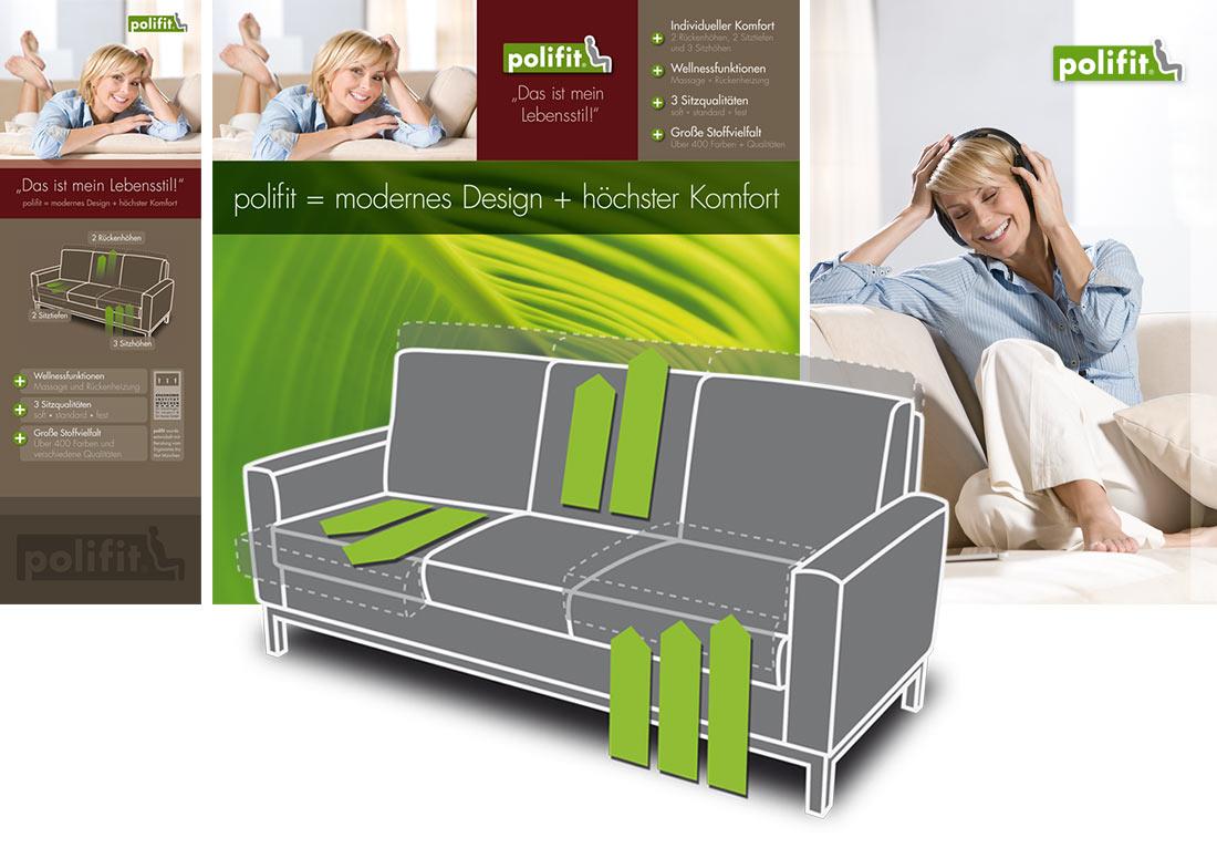 Funktions-Illustration für ein Relax-Sofa der Polster-Linie polifit von Polipol.