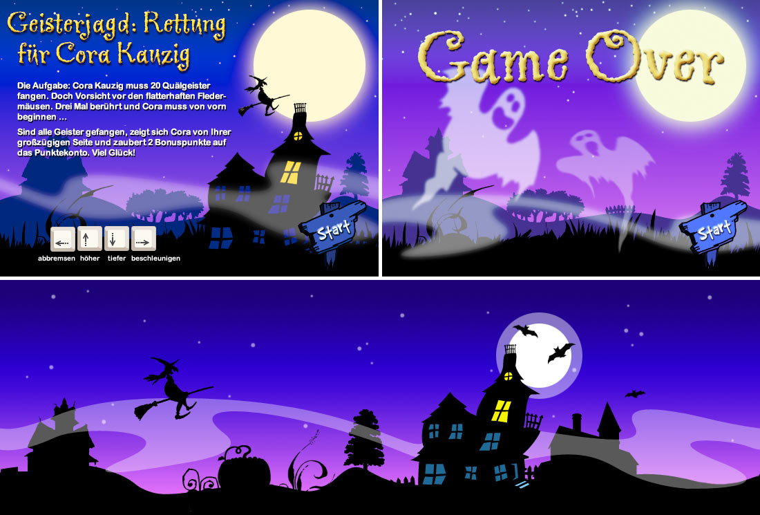Webgame-Illustration im Scherenschnitt-Stil