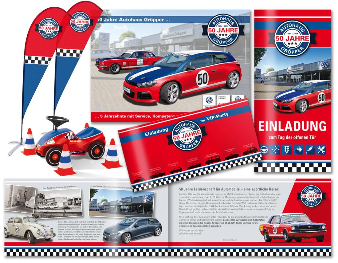 Gestaltung von Werbeanzeigen, Mailing, Einladung, Flags und Großplakat für das Jubiläum des Paderborner Autohauses Gröpper.