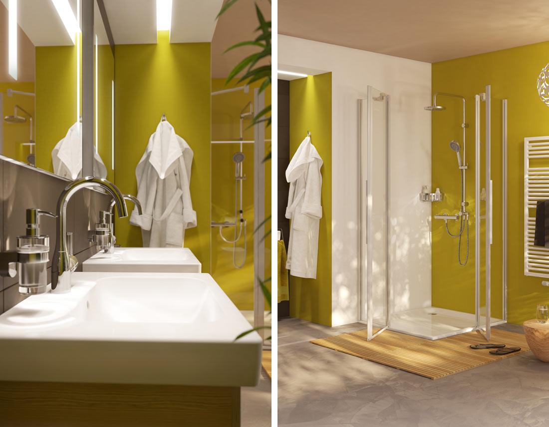 Zwei Waschtische und Dusche für ein Familienbad