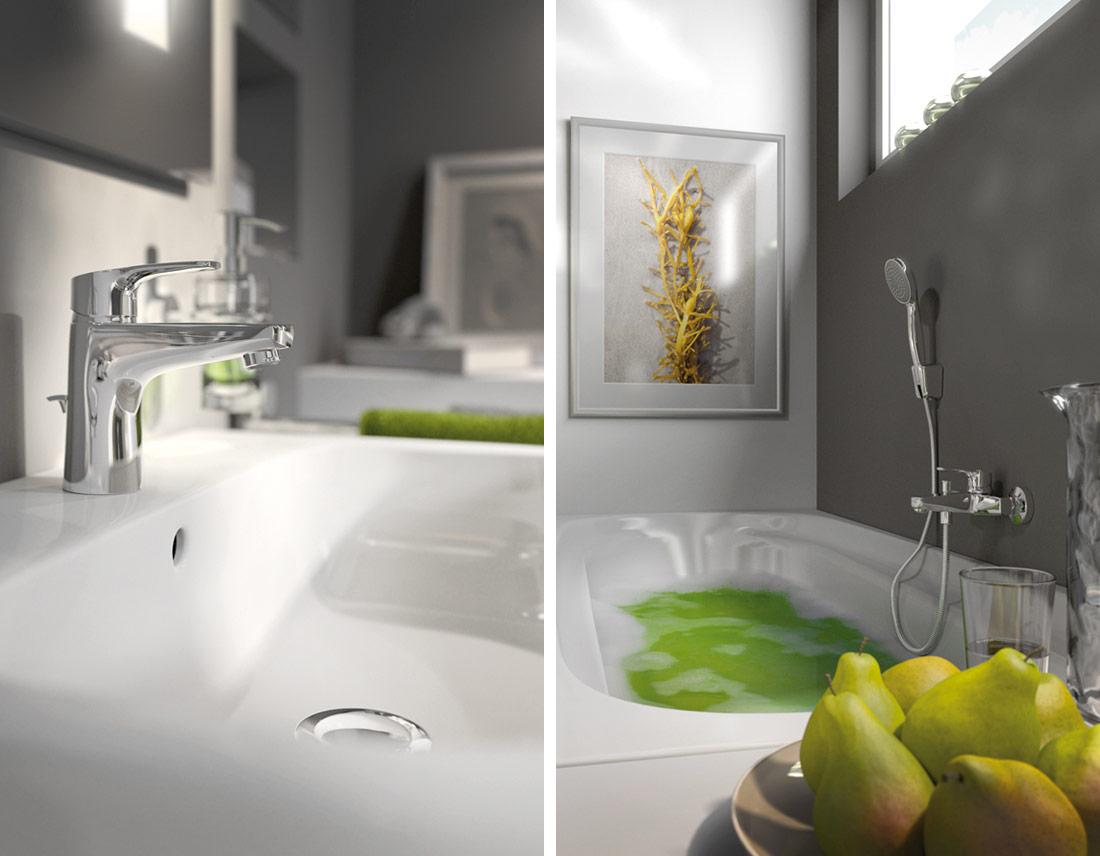 3D-Detail-Rendering von Waschtisch-Armatur und Badewanne im Bad-Milieu.