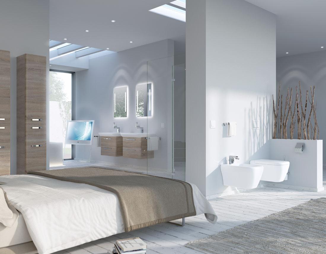 Badezimmer im Loftstil als Rendering