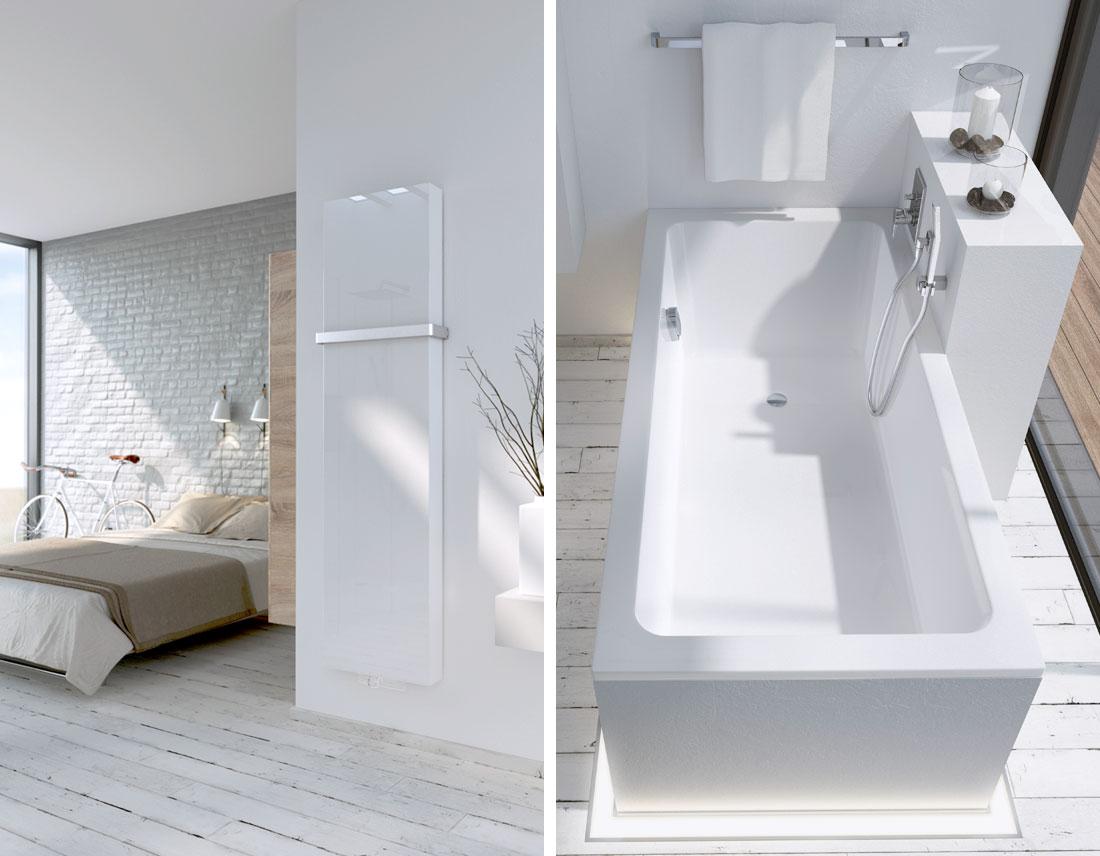 Badheizkörper und Badewanne in Weiß, 3D-Visualisierung