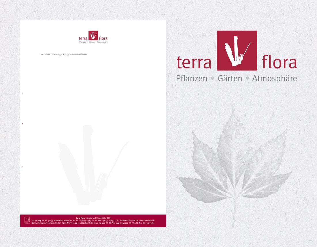 Logo und Geschäftsdrucksachen von Terra Flora