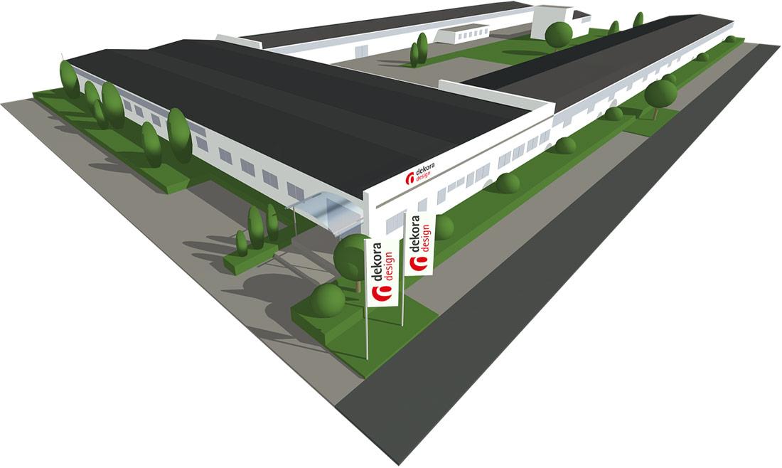 Illustration des Firmengebäudes aus der Vogelperspektive