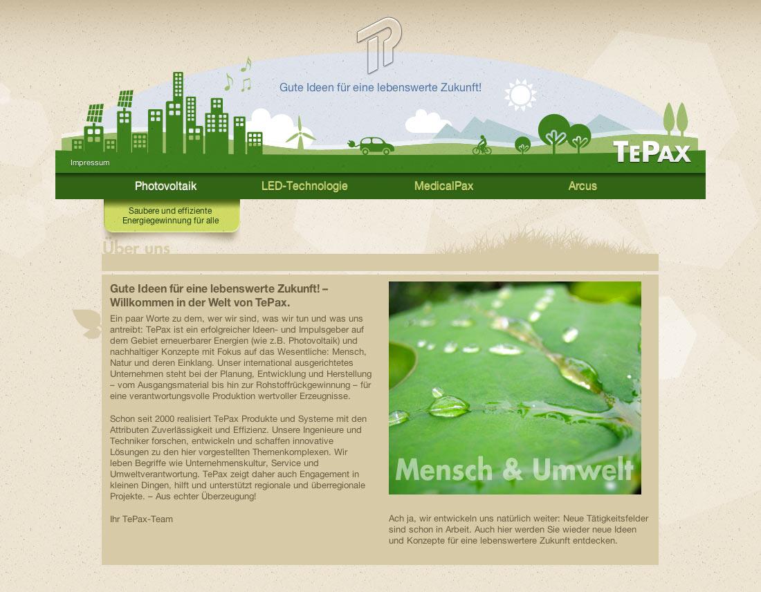 Neugestaltete Landingpage für die Unternehmenssparten von Tepax.