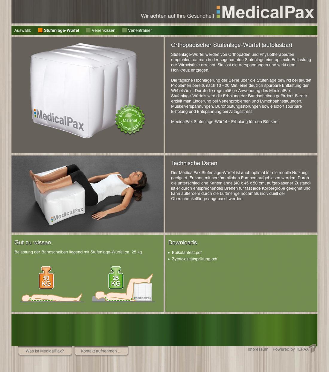 Produktseite der Homepage