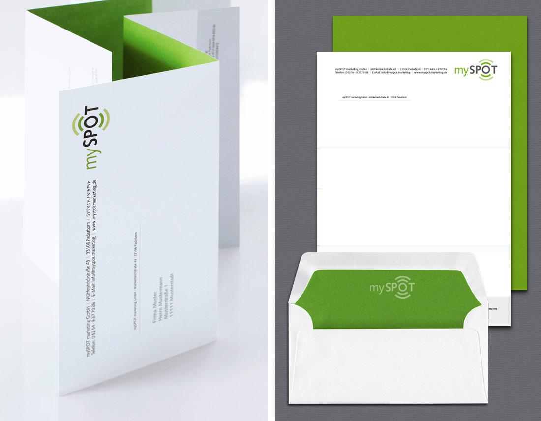 Briefpapier für das Unternehmen mySPOT mit grüner Akzentfarbe