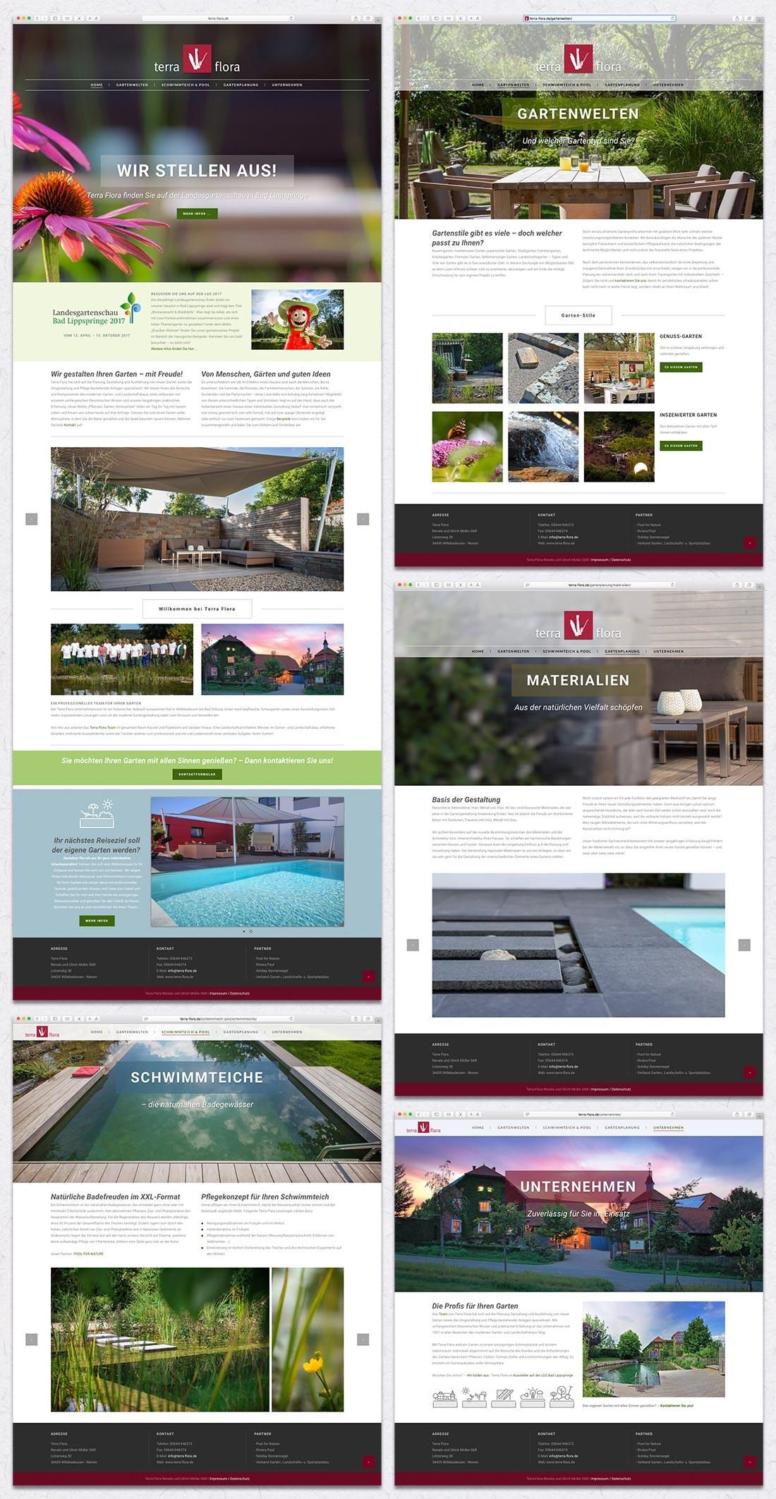 Webauftritt des Gartenbau-Unternehmens Terra Flora