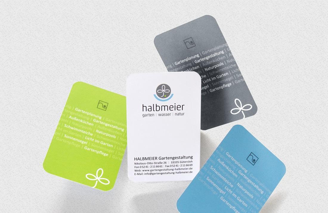 Design-Varianten von Visitenkarten