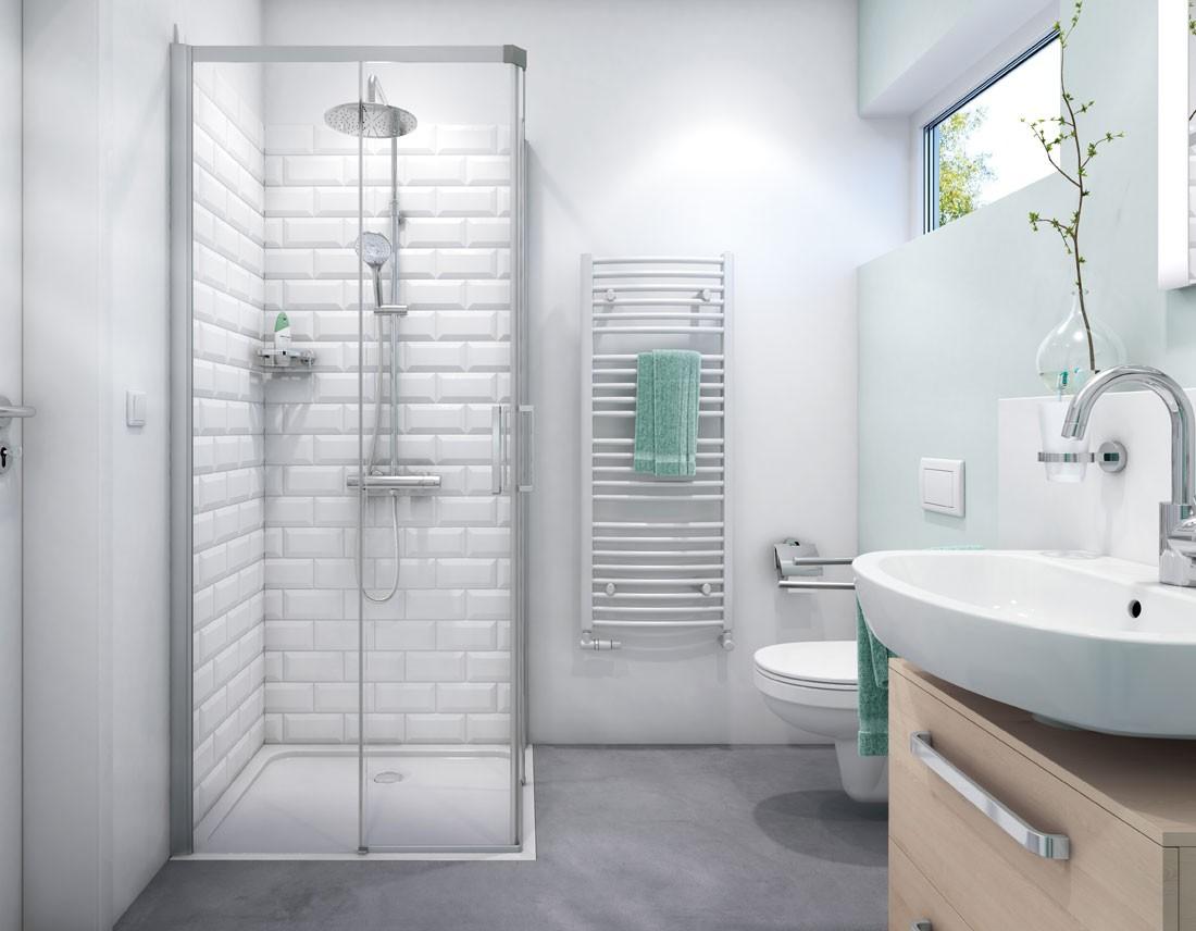 Duschsystem mit Duschabtrennung und Heizkörper