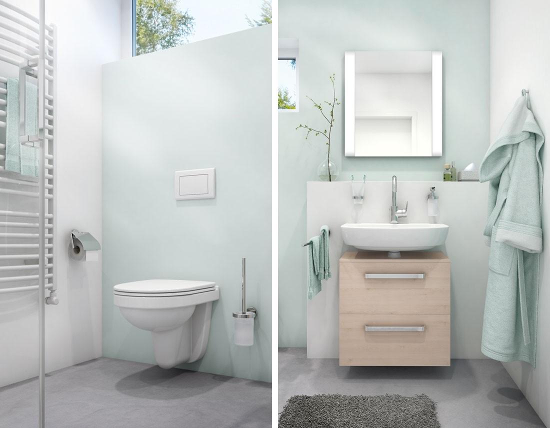 WC mit Accessoires und Waschtisch mit Leuchtspiegel