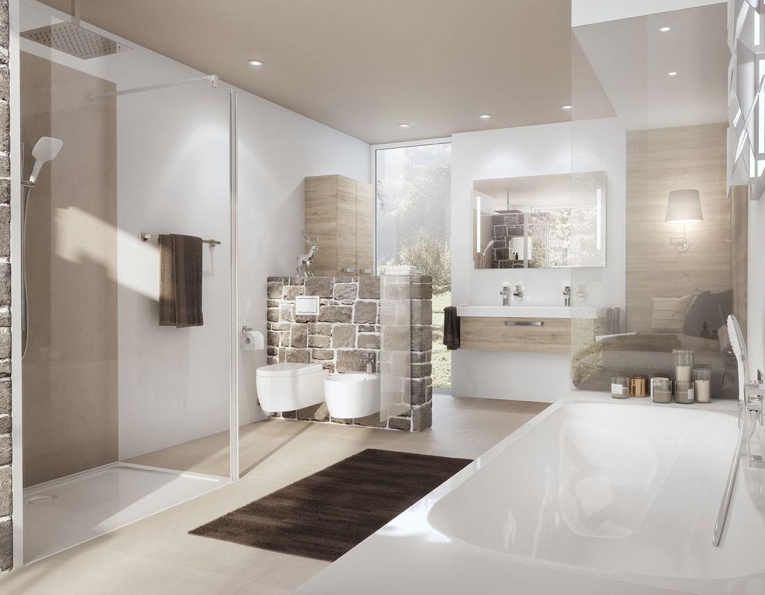 WC, Bidet und Waschtisch, 3D-Rendering