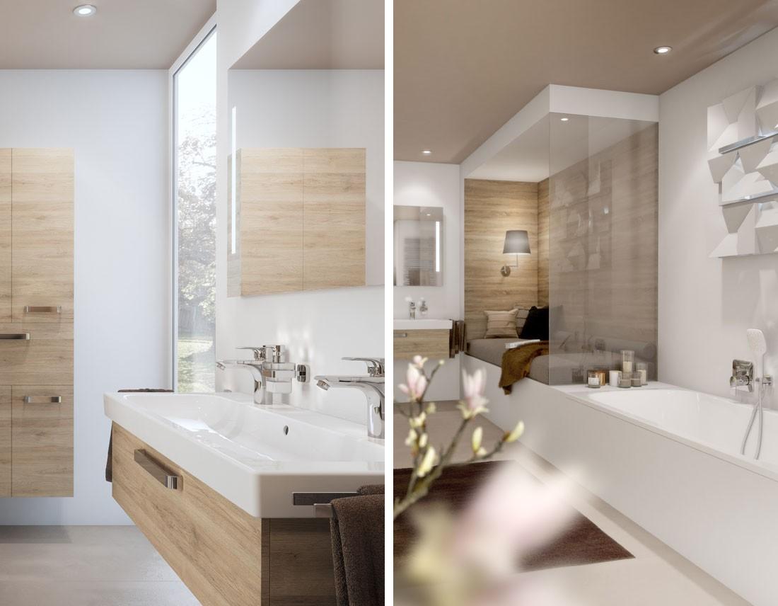 Waschtisch mit Unterschrank in Eiche-Nachbildung und Badewanne in realistischem 3D