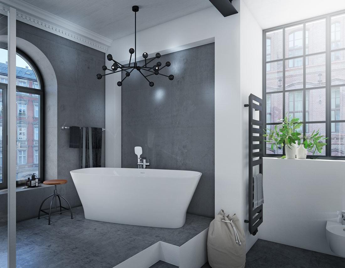 Bad auf zwei Ebenen mit Beton-Elementen