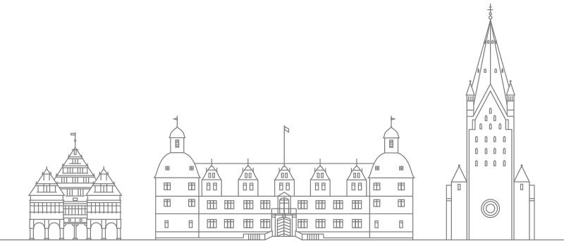 Rathaus, Dom und Schloss als Strichzeichnung