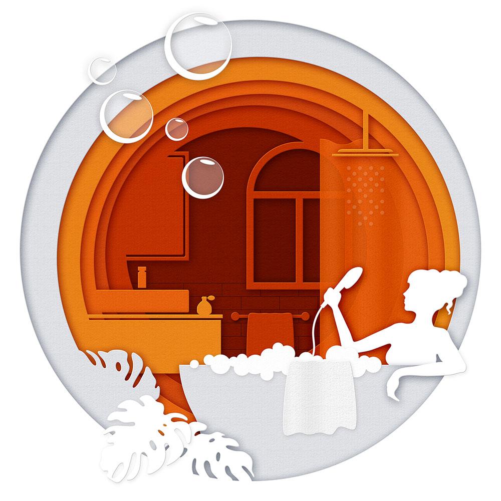 Badezimmer im Illustrations-Stil