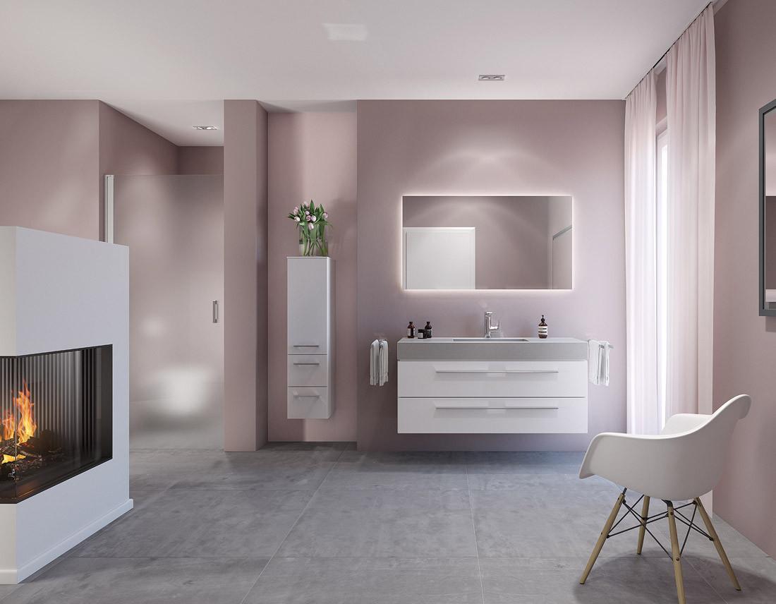3D-Rendering eines Bades in der Farbe Rosé